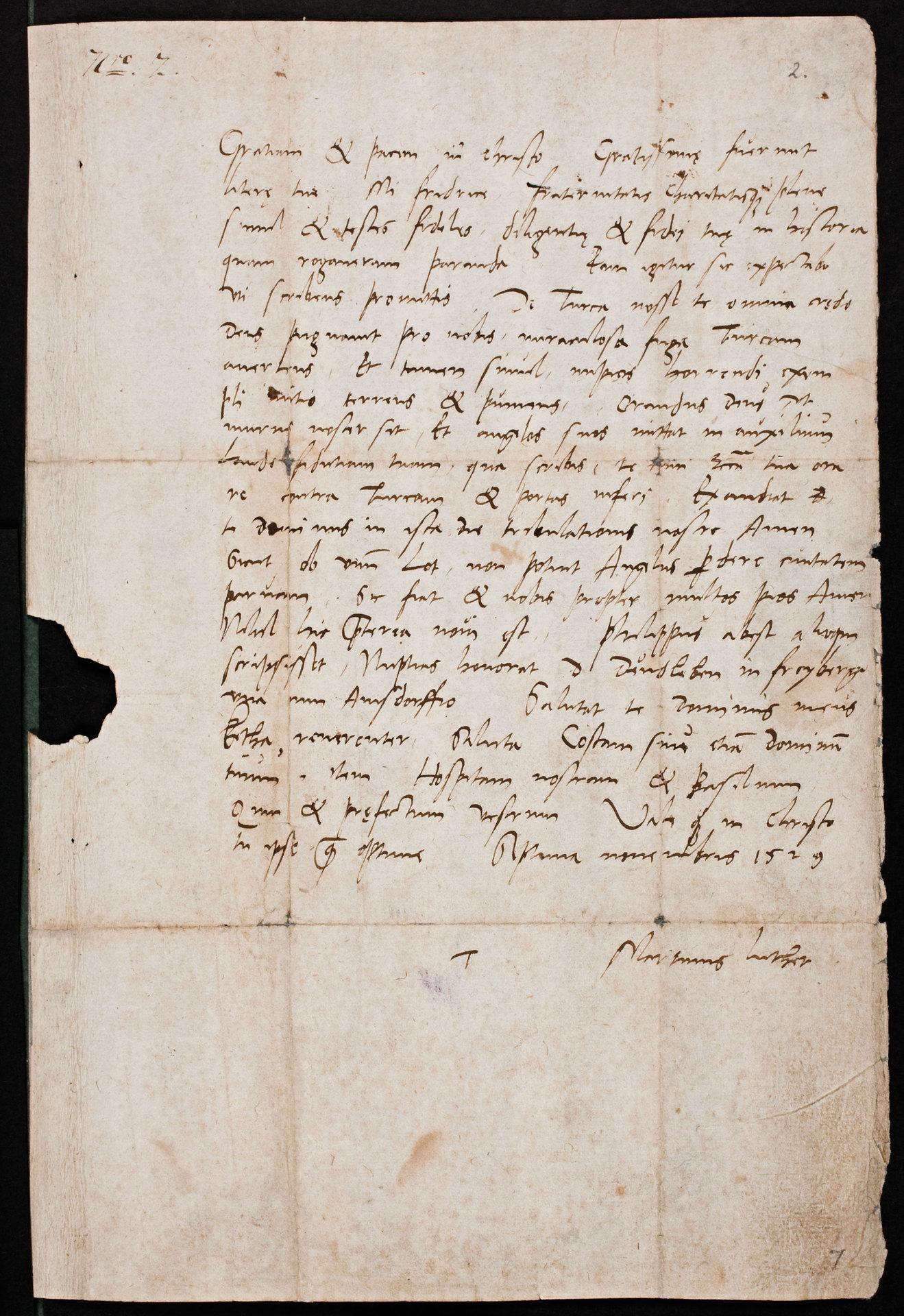 Eigenhändiger Brief an die Visitatoren in Thüringen