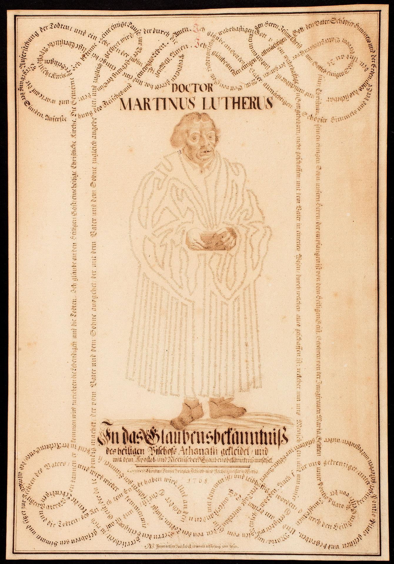 Doctor Martinus Lutherus in das Glaubensbekenntnis des heiligen Bischofs Athanasii gekleidet