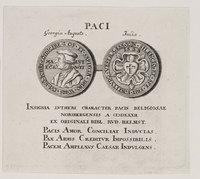 Medaillenstich mit Lutherporträt und Wappen